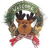 Weihnachten Deko Clode® Frohe Weihnachten Party Poinsettia Kiefer Kranz Tür Wand Girlande Dekoration (C)