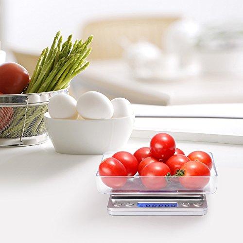 Digitale Küchenwaage IDAODAN 3000*0.1g Lebensmittel Grammschuppen Electronische Professionelle Waage Feinwaage mit Beleuchteter LCD-Anzeige Silber - 6
