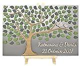Livingstyle & Wanddesign 3D Baum aus Holz zur Hochzeit mit Namen und Datum mit Blättern und Vogelpaar (100 Stück)