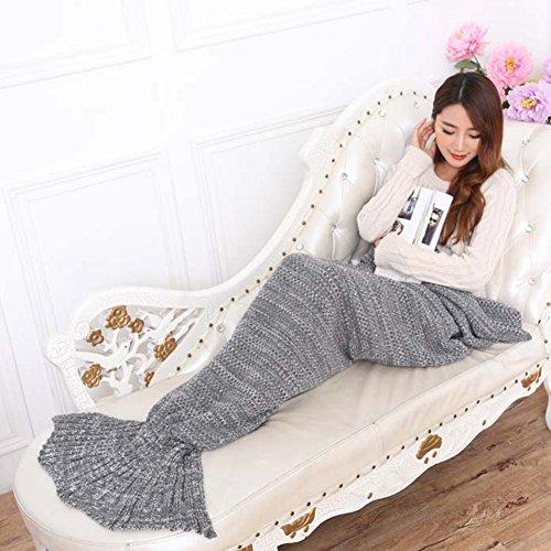 LIVEHITOP Crochet Mermaid Tail Coperta, morbida lana Coperte Fish Tail Sacco a pelo adulti tutte le stagioni, 195 x 95 cm (Grigio)
