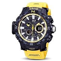 Reloj de pulsera deportivo digital para hombre Pantalla LED de gran cara Electrónica Relojes militares de cuarzo Alarma impermeable Cronómetro luz trasera Reloj casual al aire libre ( Color : Yellow )