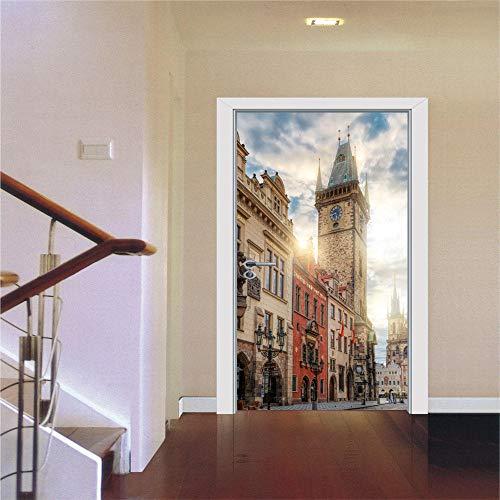 Platz Glockenturm Dekorative 3d Tür Aufkleber Hause Tür Shop Wohnzimmer Schlafzimmer Dekor Fenster Kühlschrank Raumdekoration -