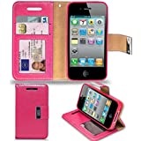 Apple iPhone 4S /4 - Premium Leather Wallet Flip Case Cover Pouch + Long Touch Stylus Pen + Mini Touch Stylus Pen + Screen Protector & Polishing Cloth (AA Wallet HotPink)