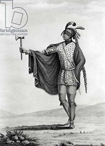 """Stampa artistica / Poster: French School """"Indian of the Nation of Kaskaskia, from the atlas to Callot's 'Voyage dans l'Amerique Septentrionale', 1826, engraved by Tardieu"""" - stampa di alta qualità, immagini, poster artistici, 50x70 cm"""