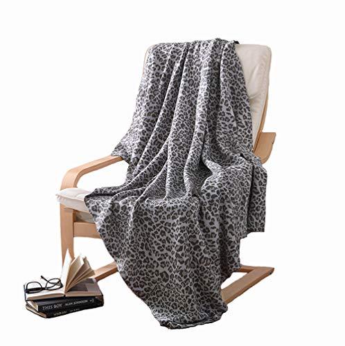 Ancoree coperta lavorata a maglia 100% cotone stampa leopardo super morbido peluche throw blanket per poltrona divano letto accogliente ed elegante sala di trapunta-per-aria condizionata,120x180cm