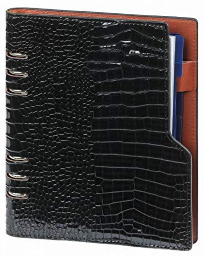 Kalpa A5 Compact Organizer mit Papierfüller Wochenplaner, Tagebuch, Tagebuch -23 x 18 cm- Croco Schwarz