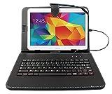 Etui noir + clavier intégré AZERTY pour Samsung Galaxy Tab 4 (SM-T530/T533), Tab A 9,7' (T550) et Tab A 10.1 (2016) T580 tablettes 10.1' - stylet tactile BONUS + Garantie DURAGADGET de 2 ans