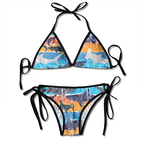 Women's Bikini Set Abstract Sharks Pattern Tie Side Bathing Suit