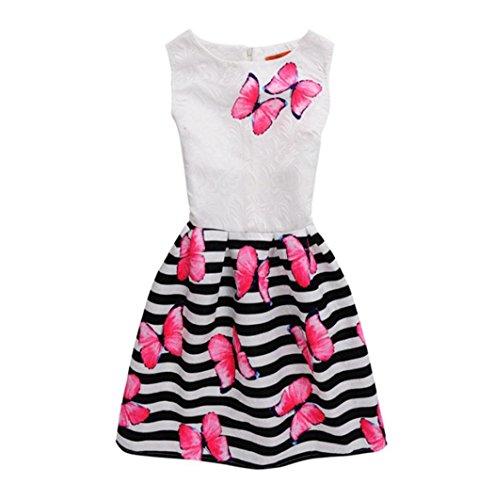 Girl's Dress,OSYARD Summer Dress Sleeveless Wave Butterfly Printed Princess Dress Children Kids Outfits Clothes