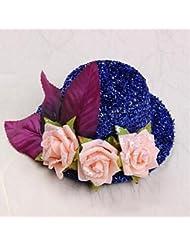 zhq Flower Girl sombreros de poliéster/algodón con rosas boda/fiesta Headpiece, negro