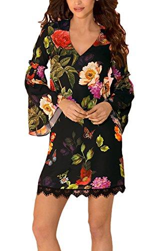 reputable site 83305 25204 BOLAWOO Donna Vestiti Corti Eleganti da Cerimonia Vintage Manica Lunga  Abito in Pizzo Fiore Stampato Camicia Vestito Invernali Mini Dress Casuale  ...
