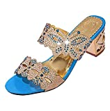 Sandalias de Mujer Moda pedrería versátil Gruesa con Zapatillas Tacones Altos Zapatos de Baile Verano Playa Casual Roma Zapatillas riou