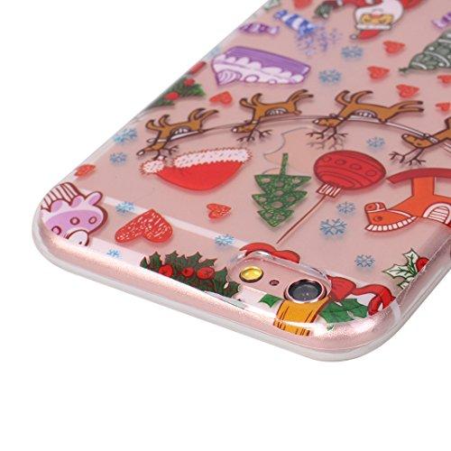 iPhone 6S Plus Hülle Weihnachten, Rosa Schleife iPhone 6 Plus Schutzhülle Ultra Dünn Transparent TPU Silikon Backcover Schale Weihnachten Muster Handyhülle für iPhone 6 Plus / 6S Plus Weihnachtskränze