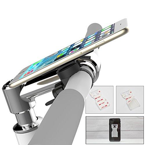 Universal Handyhalterung, drehbar, mit Klebepad, geeignet fürs Smartphone: iPhone, Samsung, Nokia, HTC, Huawei - Handy Halterung für Motorrad und Bike / Fahrrad (Standard (Kunststoff))