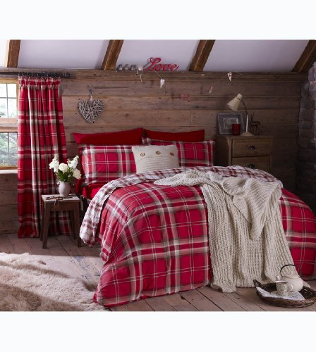Easy Care Cotton Rich Kelso Check Reversible King Duvet Set in Red