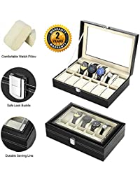 Zogin Aluminum 12 Grid Watches Jewelry Display Storage Boxes Case with Pillows Holders