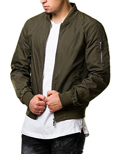 Mentex Herren Jacke Übergangs Bomber Polyester Zipper Schwarz Khaki S150, Größe:XL;Farbe:Khaki
