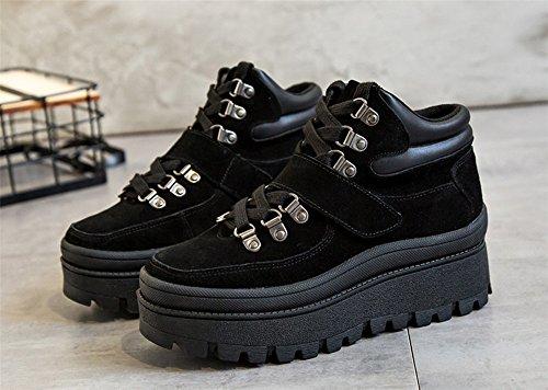 Muffin Avec Des Bottines Ronde Plate-forme Épaisse Avec Une Génoise Avec Des Bottes Martin Bottes D'escalade Chaussures Marée Féminine Chaussures Bottes De Neige Noir