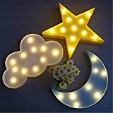 IACON Star Light Dekorative Light Star LED Dekorative Licht Nachtlicht Effektlampe Wandlampe Kinder Wandstahler Zeichen für Baby Kinderzimmer Schlafzimmer Décor Light Sign Geschenke Sterne Mond