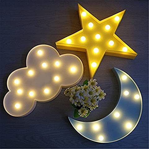 IACON Star Light Dekorative Light Star LED Dekorative Licht Nachtlicht Effektlampe Wandlampe Kinder Wandstahler Zeichen für Baby Kinderzimmer Schlafzimmer Décor Light Sign Geschenke Sterne Mond Wolke