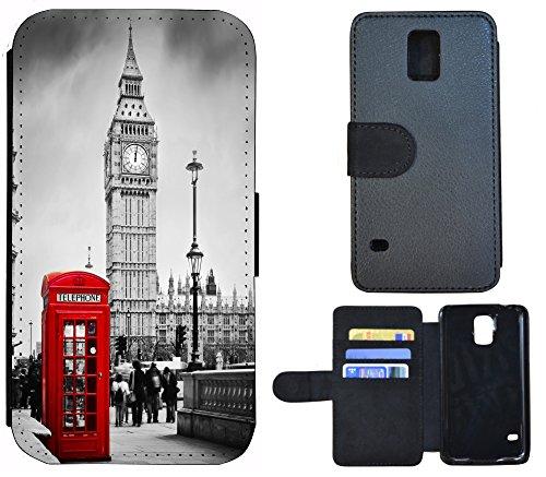 FioMi-Protect Schutz Hülle Flip Cover Handy Tasche Etui Case für (Samsung Galaxy S5 Neo, 1103 London Big Ben England Rot Grau) (Galaxy London S5 Samsung Case)