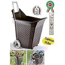 Bama KART, Carrello con ruote per i lavori da giardino, capacità di 76 lt., colore: Cacao