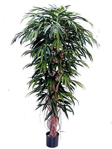 artplants – Künstliche Luxus Longifolia PARI 1180 Blätter, grün, 210 cm – Kunstbaum/Künstliche grüne Pflanze