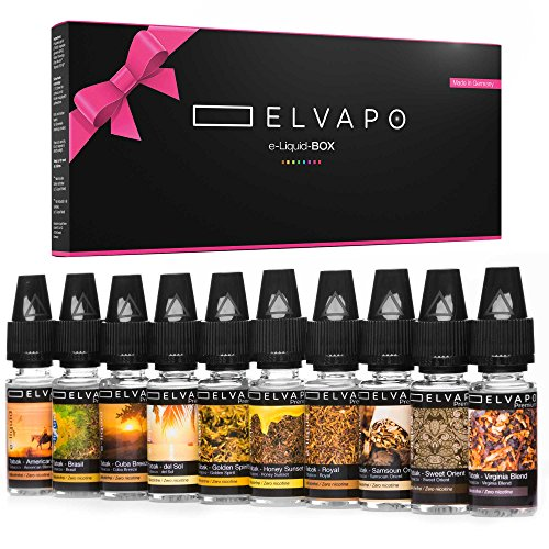 10 x 10ml Elvapo Premium E-LIQUIDS | Tabak-Set: American Blend, Royal, Virginia Blend, Cuba Breeze, Samsoun Orient, Golden Spirit, Honey Sunset, Brasil, del Sol, Sweet Orient | 0mg (ohne Nikotin)