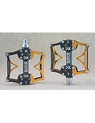 "upanbike bicicleta Triple rodamiento Pedales 9/16""aleación de aluminio CNC para MTB bicicleta de carretera bicicleta, Black-Gold"
