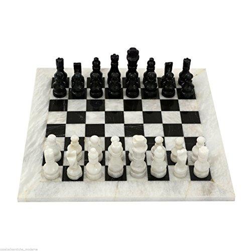 Schachbrett mit Intarsien aus Marmor weiß schwarz Marble Chess Set Chessboard 30x 30cm Classic Home Design -