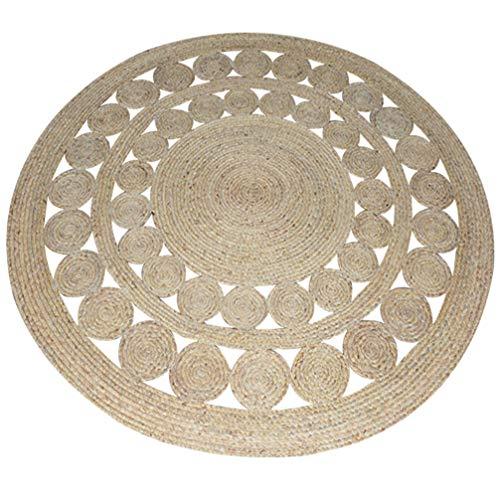 AMON LL Handgewebte natürliche Jute aushöhlen Design Teppich, Flecken beständig langlebig Runde Teppiche für Wohnzimmer/Schlafzimmer,B,120 * 120cm -