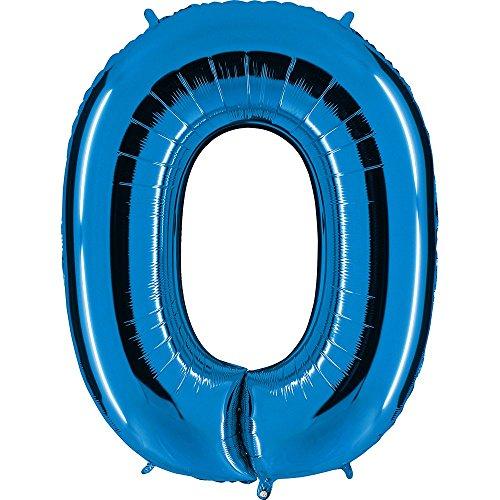 Ballon Zahl 0 in Blau - XXL Riesenzahl 100cm - für Geburtstag Jubiläum & Co - Party Geschenk Dekoration Folienballon Luftballon Happy Birthday (Geburtstag Geschenke Party)