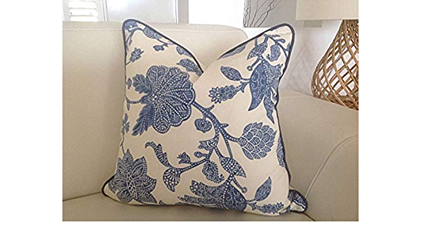 Ol322ay Hamptons Style Cushions Cover Only 30x50cm Blue And Ivory Jacobean Pillow Indigo Cushions Almost Sold Out Lumbar Scatter Cushion Covers Amazon Co Uk Kitchen Home