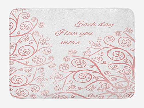 KIYINY I Love You More Bath Mat, Doodle Style Abstract Floral Tree Branches with Swirls Love in Spring, Plush Bathroom Decor Mat with Non Slip Backing, Blush White 19.6X31.4 inches/50X80cm