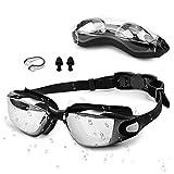 otumixx Schwimmbrillen für Erwachsene, Schwimmen Brillen Antibeschlag UV Schutz Kein Auslaufen Verstellbar Gurt Komfort Fit Taucherbrille für Männer Frauen Kinder - Schwarz