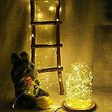 Igemy Flexible Kupferdraht Schnur Beleuchtet Extralange 20m 200 LED Sternenlichterkette Warmes Weiß (Gelb)