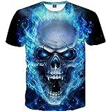 Fuibo Homme T-Shirt À la Mode 3D Creative à Manches Courtes Impression Tête de Crâne Colorée Occasionnel Tees (L, Bleu)