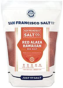 Red Alaea Hawaiian Sea Salt (2 lb. Bag - Fine Grain) by San Francisco Salt Company
