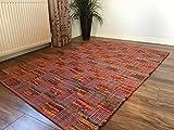 Mehrfarbiger, rosa Patchwork-Flachgewebe, indischer Flickenteppich, multi, 90 x 150 cm