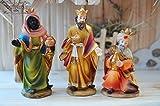 Krippenzubehör Krippenfiguren, Heilige 3 Könige Kaspar Melchior & Balhasar mit Gaben, für Krippenfiguren bis ca. 13 cm, hochwertige Ausführung mit liebevoller Mimik, Krippenfigur,Krippenzubehör Krippendeko