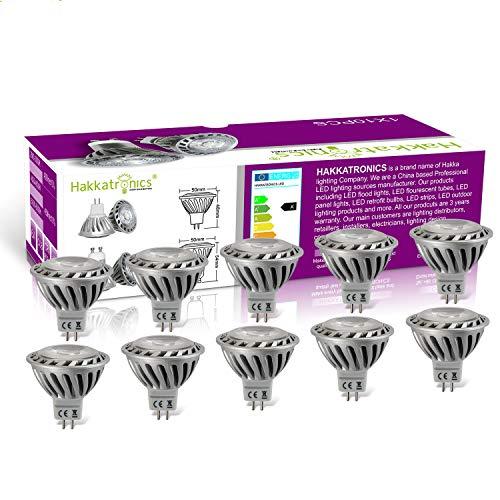 Hakkatronics MR16 LED-Glühlampen, 3000K warmweißer, 450 Lumen, 6W LED-Scheinwerfer-Glühlampe, Entspricht 50 Watt Halogen, Nicht Dimmbar, 12V, LED Einbaustrahlerfür Ausstellungen, Zuhause, 10er Pack -