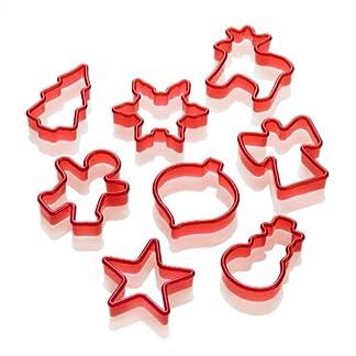 Lurch 10520 – Moldes para galletas (8 unidades), diseño de Navidad, color rojo