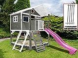 Scheffer Outdoor-Toys Stelzenhaus grau mit Kletterwand, Sandkasten Tobi4you. Kinderspielhaus, Rutsche wählen:Pinke Rutsche, Sicherheit wählen:4X Bodenanker