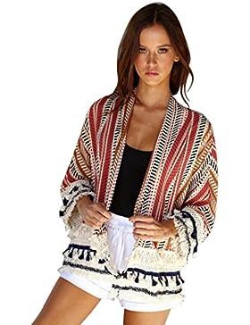 DEELIN CáRdigan Flojo del Kimono del Chal Flojo De Las Mujeres Camisa De La Camisa De Costura A Rayas
