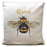 Queen Bee, Bumble Bee Gift Cushion Cover, Heavy Linen Material, 40cm 16 inches