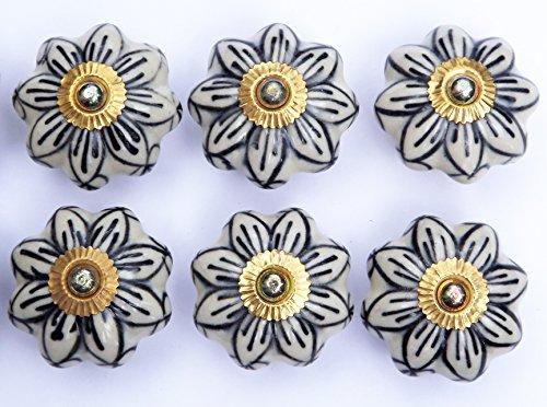 6x bianco antico grande fiore con petali nero sagomati (ottone raccordi) ceramica pomelli per cassetti maniglie shabby chic Porcelain