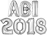 ABI2018 DekoRex® Buchstabenballon Abitur 2018 Folienballon Zahlenballon Luftballon Heliumballon Deko Silber 100cm