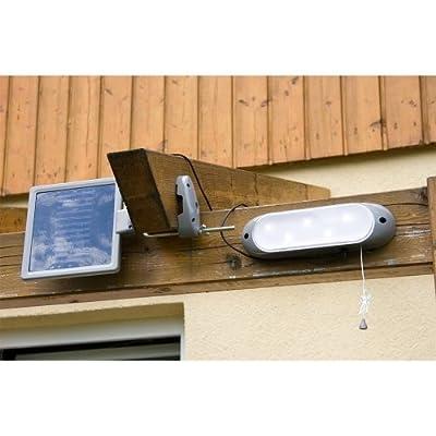 Solar Wandleuchte, Leuchte 23 x 6,5 x 4,8 cm, Solarpanel 16,5 x 17 x 1 cm, 5 super helle LEDs, Solarlampe von Maxstore bei Lampenhans.de