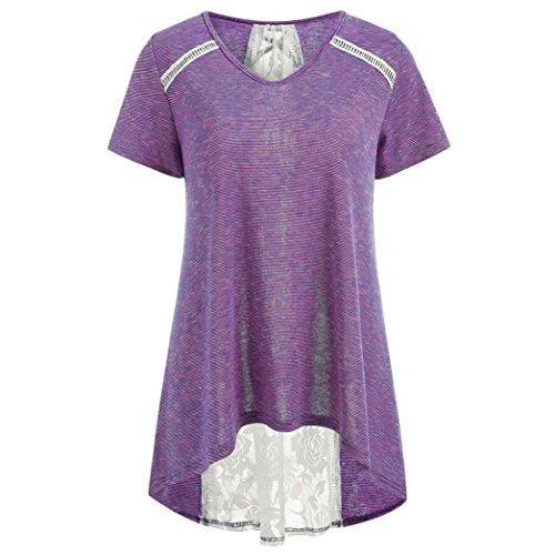 TIFIY Mode Frauen Gestreifte Spitze Panel Bandage Verzierte Bluse Casual High Low Hem Tops Kleidung