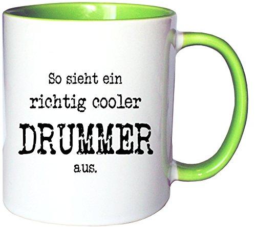 Mister Merchandise Kaffeetasse Becher So Sieht EIN richtig Cooler Drummer aus. Schlagzeug Schlagzeuger, Farbe: Weiß-Grün